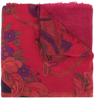 Avant Toi Floral Embroidered Scarf