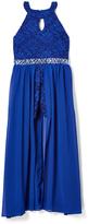 Speechless Royal Blue Lace-Accent Yoke Dress - Girls