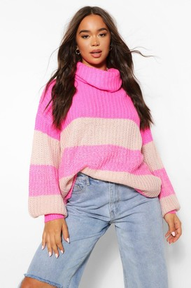 boohoo Roll Neck Oversized Ombre Jumper