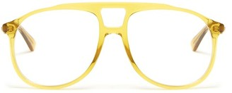 Gucci Aviator Acetate Glasses - Mens - Yellow