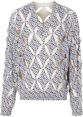 Burberry Cut-out Detail Monogram Print Silk Sweater