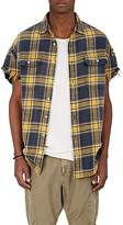 R 13 Men's Plaid Frayed Flannel Shirt