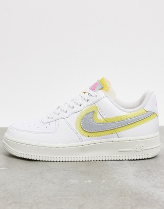 Nike Force 1 '07 stitch detail sneakers in white and silver