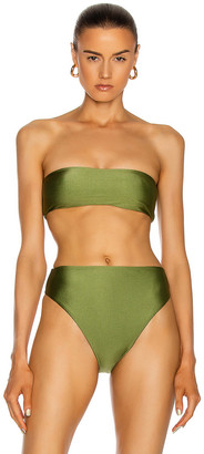 JADE SWIM All Around Bandeau Bikini Top in Olive Sheen | FWRD