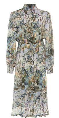 Alberta Ferretti Floral Crepe De Chine Shirt Dress
