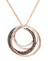 Effy Espresso Diamond And 14K Rose Gold Circle Pendant Necklace