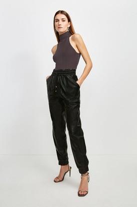 Karen Millen Leather Perforated Side Detail Jogger