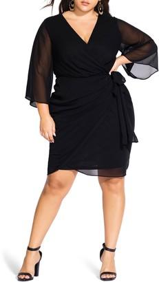 City Chic Chiffon Faux Wrap Dress