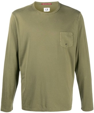 C.P. Company Long Sleeved Top With Embroidered Logo Pocket