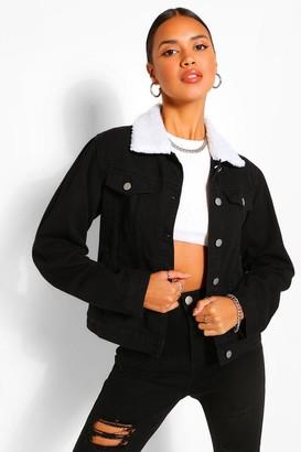 boohoo Borg Collar jean jacket