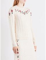 Altuzarra Ladies White Textured Amalia Embroidered Wool And Cotton-Blend Jumper