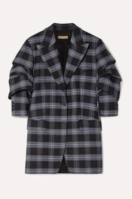 Michael Kors Checked Ruched Wool-blend Twill Blazer - Dark gray