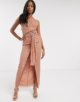 Asos Design DESIGN cami maxi dress with wrap waist in scatter sequin