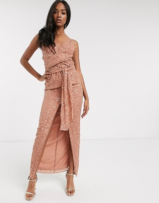 ASOS DESIGN cami maxi dress with wrap waist in scatter sequin
