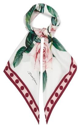 Dolce & Gabbana Rose-print Silk Scarf - Pink White