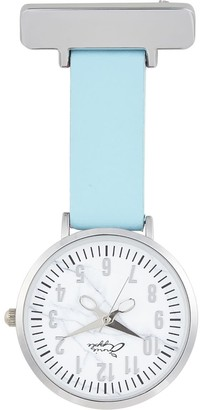 Bermuda Watch Company Marble Silver & Blue Leather Nurse Fob Watch