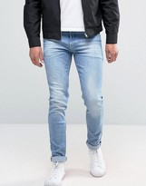 Asos Selvedge Super Skinny Jeans In Light Blue