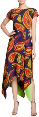 Chiara Boni Paisley Short Sleeve Asymmetrical Midi Dress