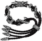 JCPenney Dragon Stainless Steel & Leather Mens Bracelet