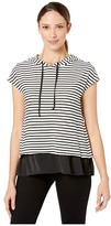 Vince Camuto Short Sleeve Rich Stripe Mix Media Double Layer Hoodie (Rich Black) Women's Clothing