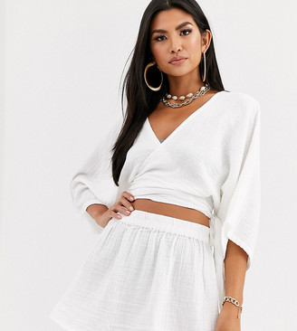 South Beach Exclusive beach wrap top and skirt co-ord in white