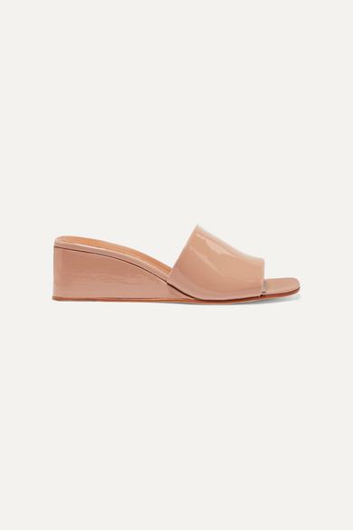 LOQ Sol Patent-leather Wedge Sandals - Beige
