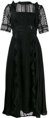 Self-Portrait Geometric Lace midi dress
