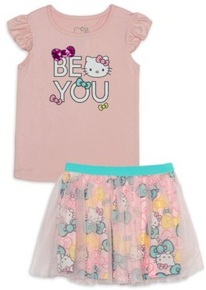 Hello Kitty Girls Be You Graphic Tee and Tutu Skirt, 2-Piece Outfit Set, Sizes 4 -6x