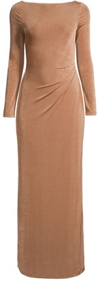 Significant Other Bambi Ruched-Back Long-Sleeve Gown