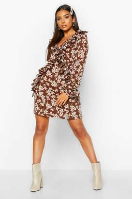 boohoo Floral Ruffle Frill Detail Skater Dress