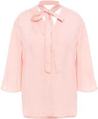 Sandro Pussy-bow Twill Blouse