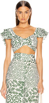 Alexis Verna Top in Green Abstract   FWRD