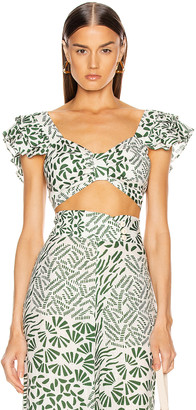 Alexis Verna Top in Green Abstract | FWRD