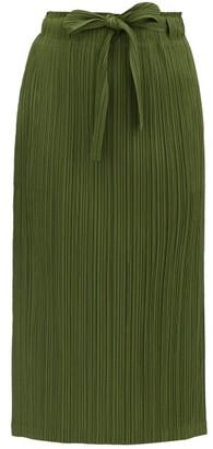 Pleats Please Issey Miyake Sash-waist Pleated-jersey Midi Skirt - Khaki