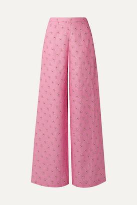 Miguelina Pamela Printed Linen Wide-leg Pants - Pink