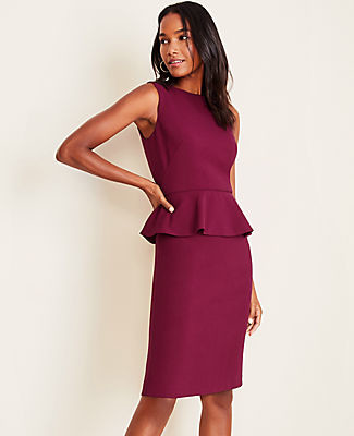 Ann Taylor Doubleweave Peplum Sheath Dress