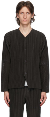 Homme Plissé Issey Miyake Black Outer Mesh Cardigan