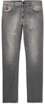 Isaia Slim-fit Stretch-denim Jeans - Gray