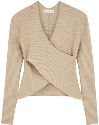 Live The Process Camel wrap-effect ribbed-knit jumper