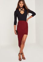Missguided Ribbed Asymmetric Midi Skirt Red