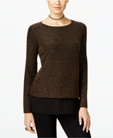 INC International Concepts Petite Metallic Knit Layered-Look Top, Only at Macy's