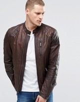 Pepe Jeans Pepe Goldborne Leather Jacket Padded Shoulder Brown