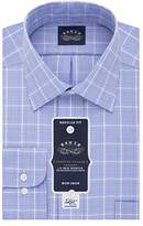 Eagle Men's Non Iron Stretch Collar Regular Fit Plaid Spread Collar Dress Shirt