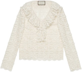 Gucci Flower lace shirt with ruffles
