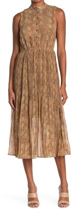 Moon River Sleeveless Button Front Snake Skin Print Pleat Dress