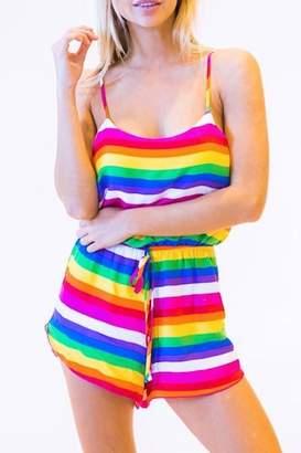 Peach Love California Rainbow Romper