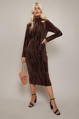 Little Mistress Lazar Copper Lurex Cut-Out Midi Dress