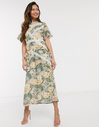 Hope & Ivy midi dress with lace panels in spring rose print