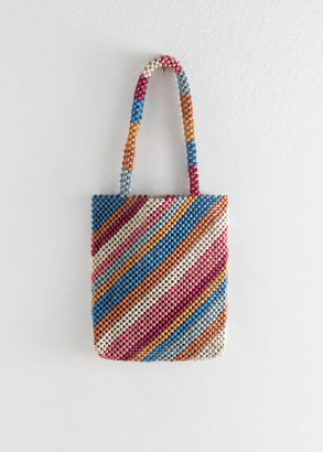 And other stories Rainbow Wooden Beaded Tote Bag