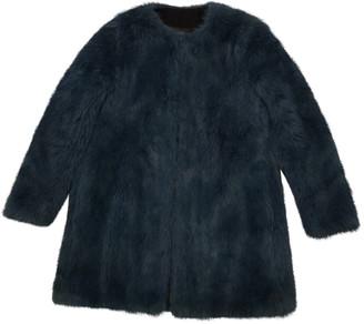 Zara Turquoise Faux fur Coats